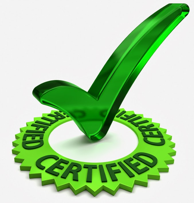 "Green check mark with the word ""certified"""
